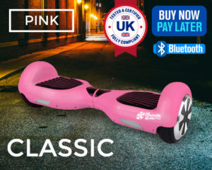 pink swegway with bluetooth speaker